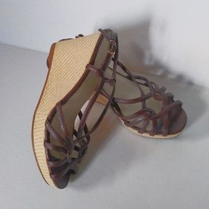 Shoes - EUC BROW VEGAN LEATHER STRAPPY WEDGE SANDLE